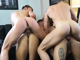 Four lads get together for a little party, but before long, bareback (gay) gays (gay) group sex (gay)