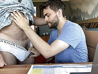 Hairy Dad lets cute boy use his computer amateur bear big cock